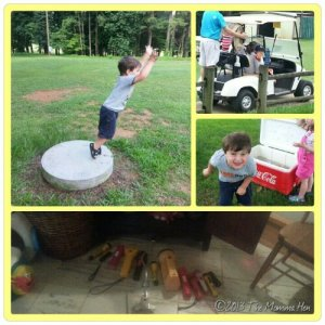 Day 36: Golf camp, playdate for H#3, scaring vampires away